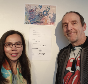 Jeremy Roberts wrote a bilingual poem (in Bahasa Indonesia and English) inspired by Alia, his daughter's drawing. Nurasiah Roberts, Alia's mother, took the photo.